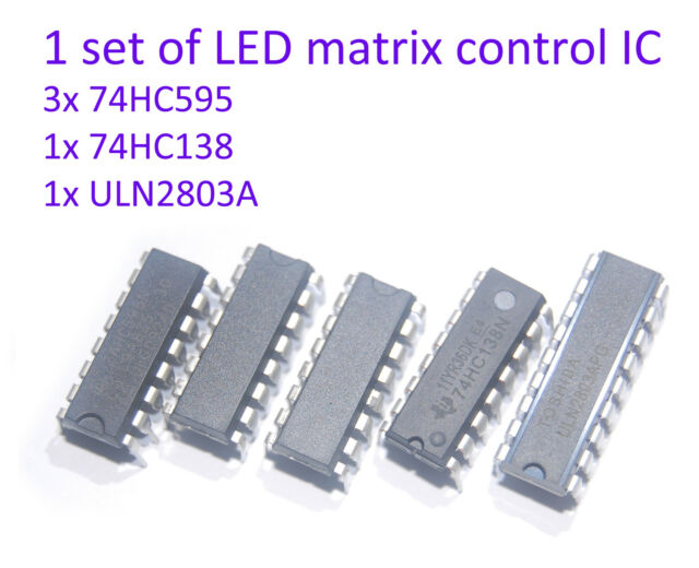1 set of arduino RGB/2color LED matrix control IC 74hc595 74hc138 ULN2803A