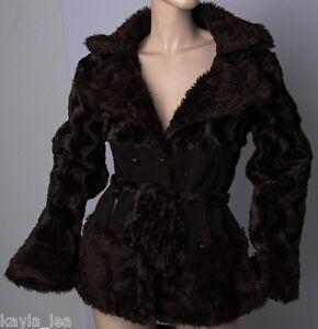 Brown-Faux-Fur-Plush-Jacket-Peacoat-Coat-L