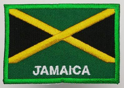JAMAICA - Embroidered Flag Quality 'Iron-On' Patch, 7cm x 5cm