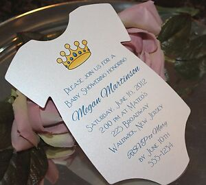 baby shower invitation onesie for a boy  prince crown on matte, Baby shower invitations