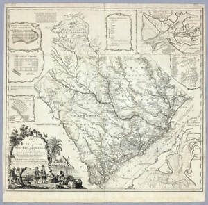 1773 SC MAP Spartanburg Sumter Union County Smyrna Six Mile Smoakes Snelling BIG