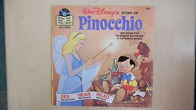 Disney's Story of PINOCCHIO Record 45rpm & Book 1977