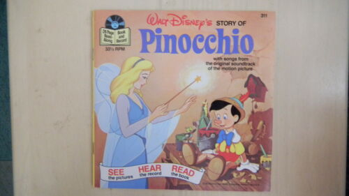 Disney's Story of PINOCCHIO Record 45rpm & Book 1977