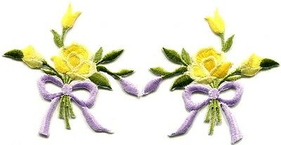 Yellow roses pair flowers floral bouquet retro boho applique iron-on patch S-546