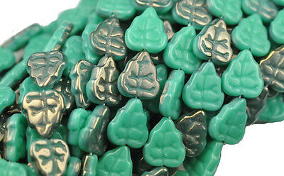 10 TURQUOISE LUSTER AB GLASS LEAF BEADS 10MM