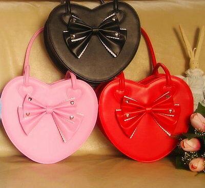Pretty Cute Japan Sweet Lolita Gothic Punk BOW Big Heart Handbags * 6 COL*