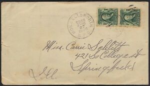 "U.S. 1905 RAILWAY CANCEL MON & ELLSWORTH R.P.O. ""AUG.17.1905"" TO SPRINGFIELD ILL"