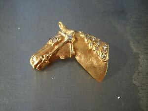 YELLOW-GOLD-14-KARAT-HORSE-HEAD-DIAMOND-PIN-BOROOCH-WOW