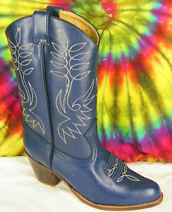 size-7-ladies-vintage-80-039-s-blue-leather-SASSON-stacked-heel-cowboy-boots