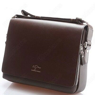 HOT! Mens Kangaroo Leather Briefcase Portfolio Shoulder Crossbody Messenger Bag