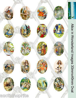 20  Alice in Wonderland Images 30mmx40mm Oval Collage Paper -Glass Tile Pendants