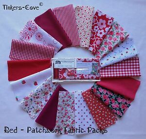 RED-Patchwork-Craft-Bundle-Fabric-Material-Remnants-FREE-Ribbon-amp-Buttons