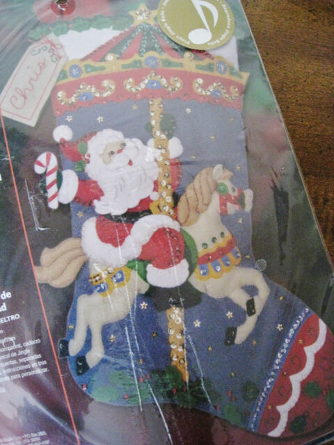 Bucilla Felt Applique Holiday Stocking Kit,CHRISTMAS CAROUSEL,Musical Chip,85316