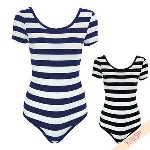 Womens-Nautical-Striped-Bodysuit-Top-Scoop-Boat-Neck-Leotard-Summer-Sailors-9299