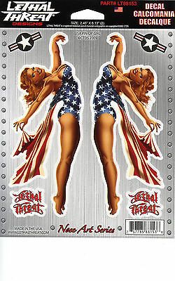 Aufkleber Set Modell USA Pin Up Girl je 16,0 x 6,5 cm