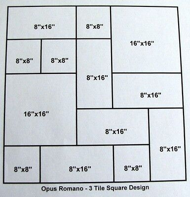 3 Size Opus Romano Pattern Tile Molds Make 100s of Slip Resistant Tiles $0.28 SF