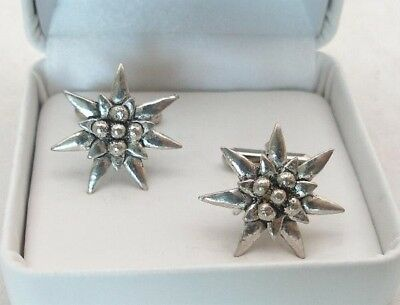 Edelweiss Cufflinks in Fine English Pewter, Handmade in Uk, Gift Boxed