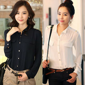 M L XL Women Business Slim Top Stylish Long Sleeve Shirt Casual Blouse 3 Color Z