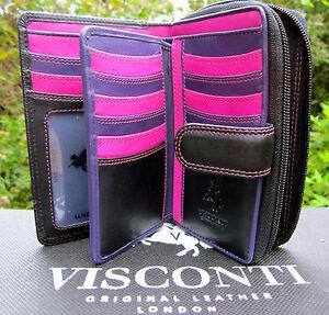 Ladies-Soft-Leather-Purse-Wallet-Black-Berry-Purple-Quality-Visconti-BNWT