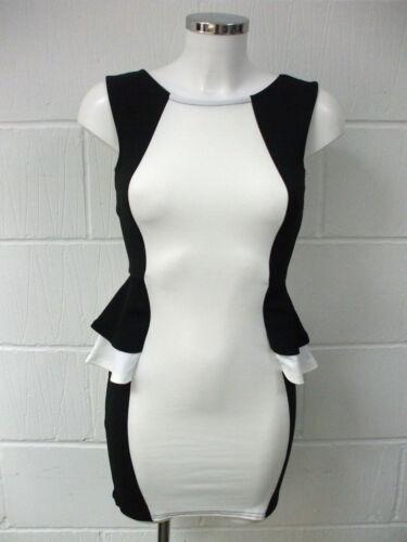 New Womens Sleeveless Dress Contrast Peplum Frill Ladies Dress 8 10 12 14 16