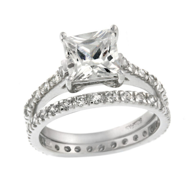 925 Sterling Silver 2ct Princess Cut CZ Bridal Ring Set