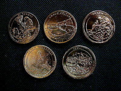 2012 Complete Set Of 24 kt Gold Plated National Park Quarters - P Mint (5 Coins)