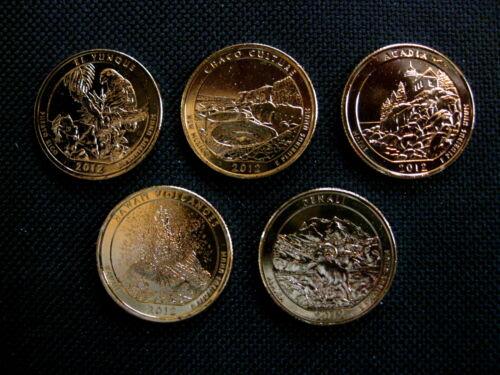 2012 Complete Set Of 24 kt Gold Plated National Park Quarters - D Mint (5 Coins)