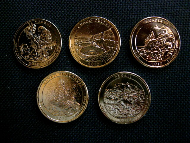 2012 Complete Set Of 24 kt Gold Plated National Park Quarters-P+D Mint(10 Coins)