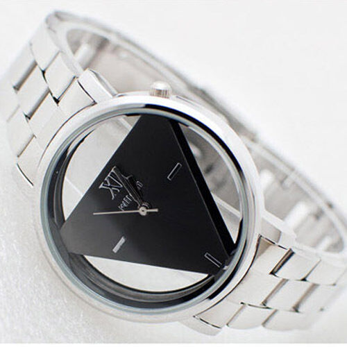 Fashion Transparent  Mens Women Triangle Black Dial Stainless Steel Wrist Watch