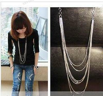 Vintage Retro Style Silver 7 layer Long Tassel Pendant Necklace Sweater Chain TL