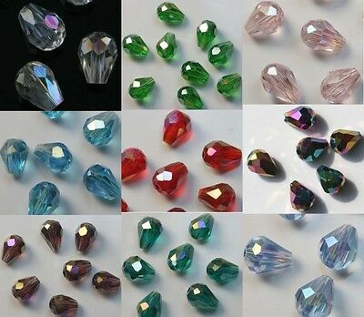 100pcs Faceted Glass Crystal Charm Teardrop Style Spacer Beads 8x6mm Wholesale