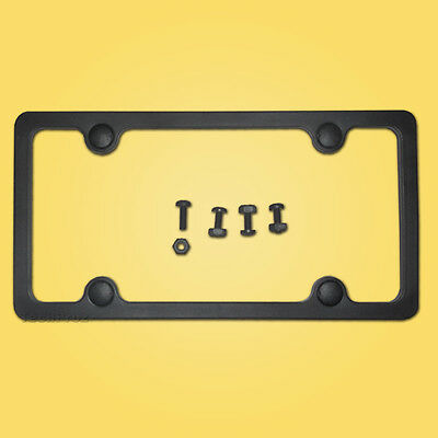 BLACK LICENSE PLATE FRAME car tag holder bracket cover flat blank plain ABSblk17