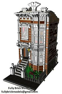 Lego American Brownstone Terrace Instructions Cafe Custom City Town Building