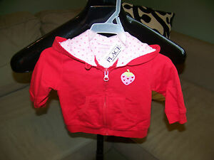 Children-039-s-Place-Red-amp-Pink-Strawberry-Zipper-Jacket-w-Hood-Size-3-6-Months
