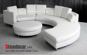 Details about 5PC NEW MODERN ROUND SECTIONAL LEATHER SOFA S406W