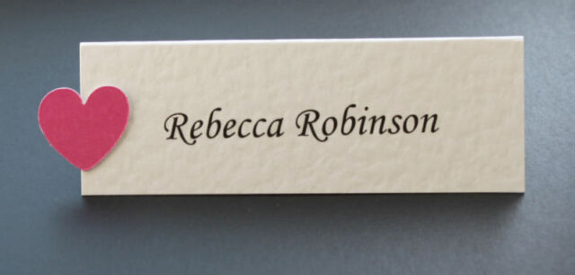 10 Personalised Wedding Place Cards - Many Colours