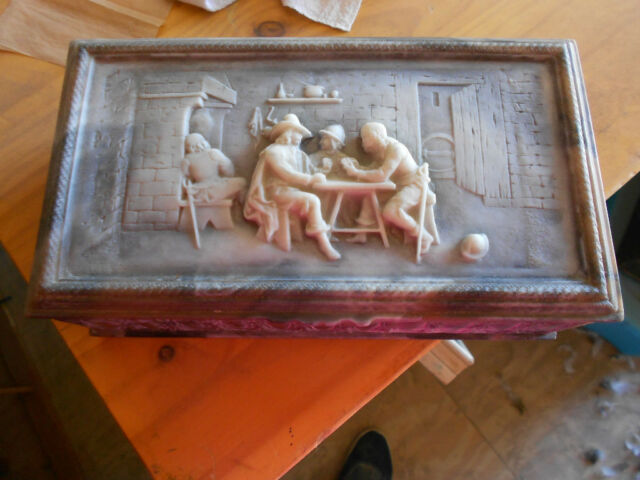 INCOLAY stone Cameo trinket/jewel/jewelry box,tavern scene