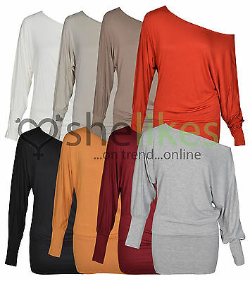 Womens One Shoulder Top Ladies Batwing Off Shoulder Long Sleeve Top 8 10 12 14