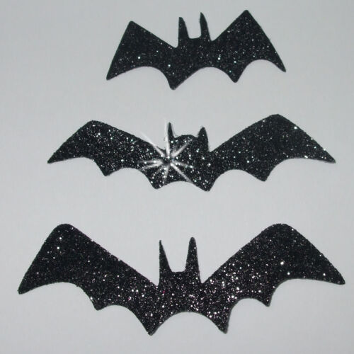 FABRIC 3 BAT GLITTER BLACK GOTHIC iron-on HOTFIX T-SHIRT TRANSFER APPLIQUE PATCH