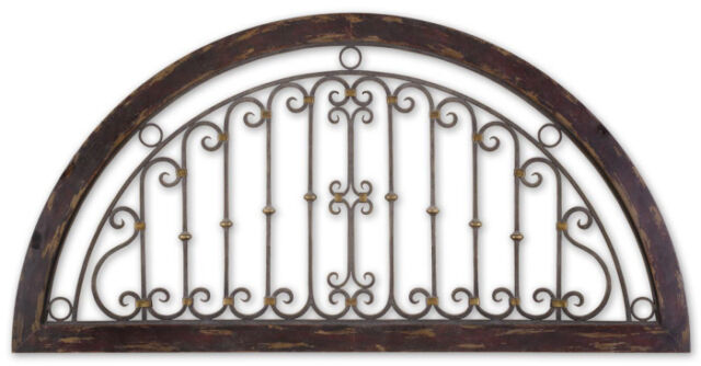 """Half Round Wall Grille Panel Scrolled 72""""L XL Tuscan Wrought Iron Scroll New"""
