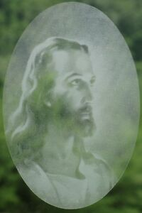 New Oval 8x12 JESUS CHRIST STATIC CLING WINDOW DECAL Christian Glass Decorations