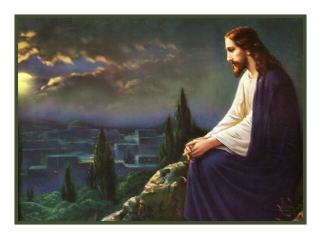 Religious Jesus Christ on Mount Olive Counted Cross Stitch Chart Pattern