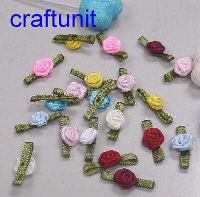 60 Satin Ribbon Rose w/green leaf or no leaf flower Appliques A016 A060  U PICK