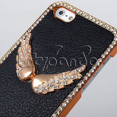 Elegant Diamond Freedom WING BLACK TP Gold Case Cover Hot For iPhone 5 5G 5S