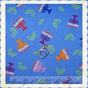 BonEful-Fabric-FQ-Cotton-Quilt-Blue-VTG-S-Jewish-Candle-Hanukkah-Rainbow-Menorah