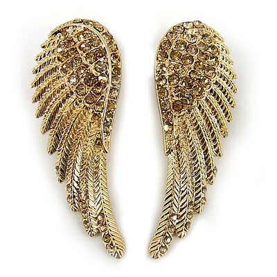 Lovely Angel Wing 5.5cm Long Use Austria Crystal 18K Gold-plated Earrings