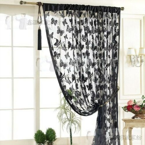 Butterfly Jacquard line curtain decorative curtain DT500 -(Black)