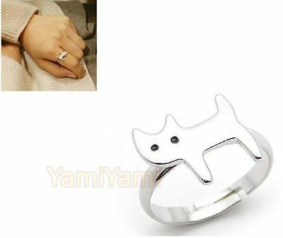Fashion Vintage Retro Simple Style Cute Cat Opening Adjustable Ring Silvery