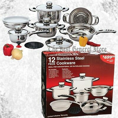 12pc 9-Ply Heavy Gauge Stainless Steel Waterless Cookware Set Pots and Pans NEW
