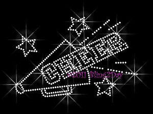 CHEER STAR RHINESTONE IRON ON TRANSFER HOTFIX BLING MOM